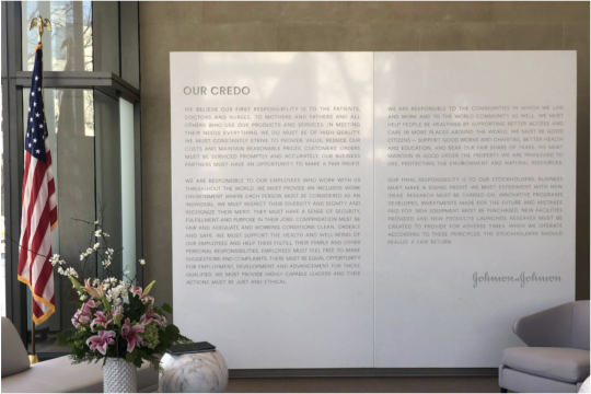Credo Wall at Johnson and Johnson Headquarters