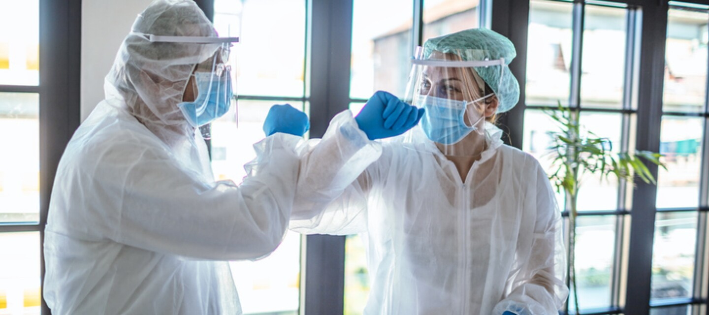 Doctors Greeting during analysis of COVID-19